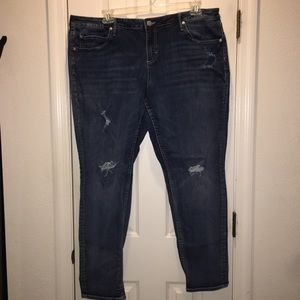 Maurice distressed True Blue Skinny Jeans 22W